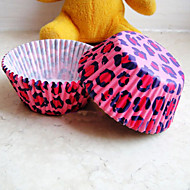Pink Leopard Print Pattern Cupcake Wrappers-Set of 50