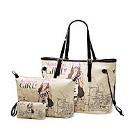 Women's Girl Letter Print Three Piece PU Bags (Handbag+Crossbody Bag+Clutch Bag)