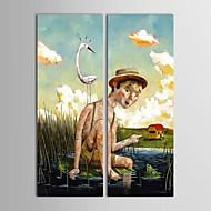 iarts®hand boyalı yağlıboya insanlar çocuk 2 gerilmiş çerçeve seti ile nehirde nilüfer yaprağı üzerinde oturan