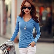 Women's Basic Soft V-neck Slim T-shirt