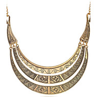 Unisex's Retro Exaggerated Carved Meniscus  Alloy Necklace