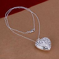 Fashion Heart Shape Silver Plated Simple Foreign Trade Rolo Silver Pendant Necklace(White)(1Pc)