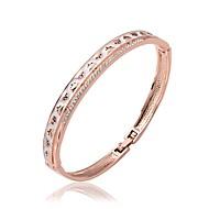 Fashion Round Shape Rose Gold Plated Czech Drill Bangle Bracelets (Rose Gold)(1Pc)