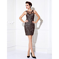 Homecoming Cocktail Party/Prom Dress Plus Sizes Sheath/Column Jewel Short/Mini Stretch Satin