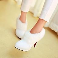 Damenschuhe - Stiefel - Kleid - Kunstleder - Stöckelabsatz - Modische Stiefel - Schwarz / Weiß