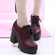 Women's Spring Fall Platform Leatherette Dress Chunky Heel Platform Lace-up Black Burgundy