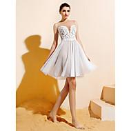 Lanting Bride Knee-length Lace / Tulle Bridesmaid Dress A-line Bateau Plus Size / Petite with Appliques / Buttons