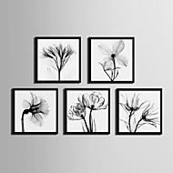 Άνθινο/Βοτανικό Καμβάς σε Κορνίζα Σετ σε Κορνίζα Wall Art,PVC Υλικό Μαύρο Χωρίς Χάρτινο Φόντο με Πλαίσιο For Αρχική ΔιακόσμησηΠλαίσιο