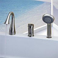 Contemporary Tub And Shower Waterfall Handshower Included with  Ceramic Valve Single Handle Three Holes for  Nickel Brushed , Bathtub