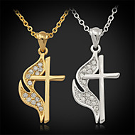 U7®New Hot Sale Jesus Cro Pendant Charm Necklace 18K Real Gold Platinum Plated Rhinestone Crystal Jewelry Gift for Women