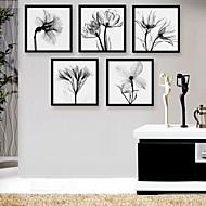 art de toile encadrée, noir et fleurs blanches à la copie encadrée de toile ensemble de 5