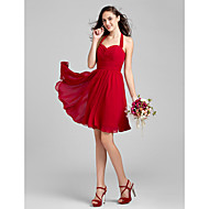Knee-length Chiffon Bridesmaid Dress - Ruby / Grape / Royal Blue / Champagne / Burgundy Plus Sizes / Petite A-line / Princess Halter