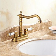 Traditional Centerset Ceramic Valve Two Handles Two Holes with Antique Brass Bathroom Sink Faucet