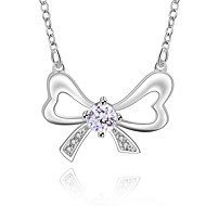 Cremation Jewelry 925 sterling silver Bow-knot with Colorful Zircon Pendant Necklace for Women