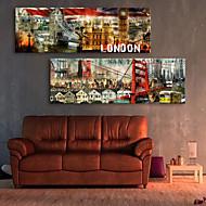 Stretched Canvas Art Landscape City London Set of 2