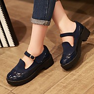 Women's Spring Summer Fall Winter Platform Patent Leather Dress Chunky Heel Split Joint Black Blue Red