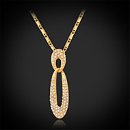 U7®New Luxury Charm Necklace 18K Real Gold Platinum Plated Austrian Rhinestone Crystal Jewelry Gift for Women
