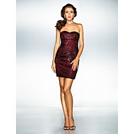 Cocktail Party / Prom / Holiday Dress - Plus Size / Petite A-line / Princess Sweetheart Short/Mini Stretch Satin / Sequined