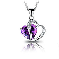Women's Silver Heart Water Wave Necklace With Purple Rhinestone