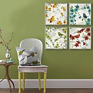 Linnut ja oksat saman väriset kasvit Canvas Print Set 2