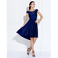 TS Couture Cocktail Party Dress - Dark Navy Plus Sizes / Petite A-line Jewel Asymmetrical Jersey