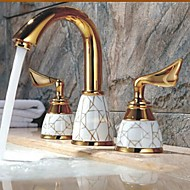 Art Deco/Retro Widespread Ceramic Valve Two Handles Three Holes with Ti-PVD Bathroom Sink Faucet