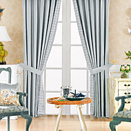 Two Panels  Classic Polyester Cotton Blend Blue Energy Saving Curtain