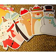 Kerst cartoon card envelop pak set van 6 (random design)