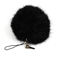 Rabbit Fur Ball Keychain/Phone Chain/Phone Dust Plug Black(1Pc)
