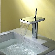 Charmingwater Contemporary  Widespread Waterfall Chrome Brass  Single Handle Bathroom Sink Faucet