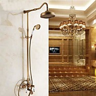 Antique Shower System Rain Shower / Handshower Included with  Ceramic Valve Two Handles Three Holes for  Antique Brass , Shower Faucet