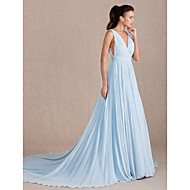 Formal Evening Dress - Sky Blue Plus Sizes / Petite A-line V-neck Sweep/Brush Train Georgette