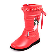 Girls'Shoes Comfort Fashion Boots Flat Heel Leather Mid-Calf Boots with Zipper More Colors available