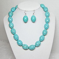 Women's Turquoise Necklace Earring Jewelry Set