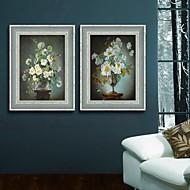 Květiny a rostliny / Klidný život Kanvas v rámu / Set v rámu Wall Art,PVC Tmavě modrá Bez pasparty s rámem Wall Art