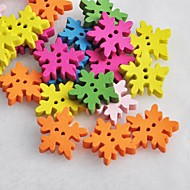 красочные снежинка в форме записки scraft швейные DIY Деревянные кнопки (10 шт случайный цвет)