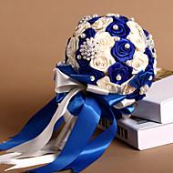 blu royal&rose nastro avorio con bouquet di nozze di perle