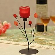 23cm 9,06 '' style européen h unique romantique rose fer bougeoir en verre forgé