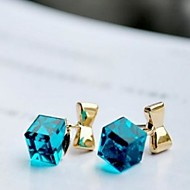 Bowknot Square Crystal Earrings
