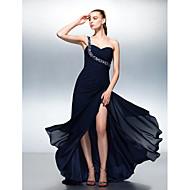 Formal Evening Dress - Dark Navy A-line One Shoulder Sweep/Brush Train Chiffon