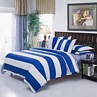 funda nórdica raya Mingjie azul y blanco de cama lijado conjuntos 4pcs fija tamaño de ropa de cama de matrimonio y China tamaño completo