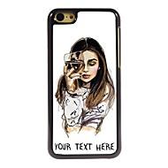 gepersonaliseerde telefoon geval - het meisje met een glas wijn ontwerp metalen behuizing voor de iPhone 5c
