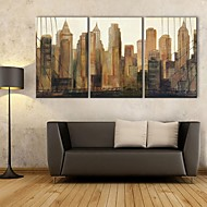 E-HOME® Stretched Canvas Art City High-rise Buildings Decoration Painting Set of 3