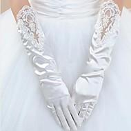 Elbow Length Fingertips Glove - Satin Bridal Gloves