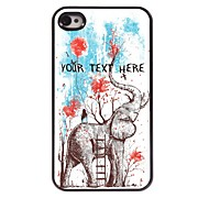 персонализированные телефон случае - девушка сидеть на случай слон дизайн металла для iPhone 4 / 4s