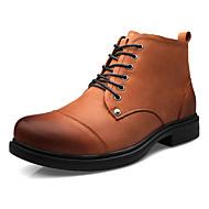 Men's Spring / Fall Comfort Leather Casual Flat Heel Black / Brown