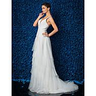 Lan Ting Sheath/Column Plus Sizes Wedding Dress - Ivory Sweep/Brush Train V-neck Tulle/Lace