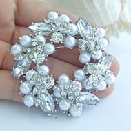 Women's Trendy Alloy Silver-tone Pearl Rhinestone Crystal Flower Bridal Brooch