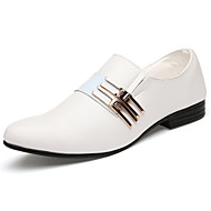 Men's Spring Fall Comfort Leatherette Office & Career Casual Flat Heel Black Brown White