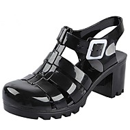 Women's Shoes Rubber Spring / Summer / Fall Round Toe / T-Strap / Jelly Casual Chunky Heel Buckle Black / Blue / Pink / White / Clear